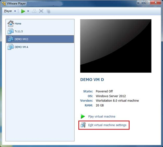 How to change RAM size in VMware player step 1