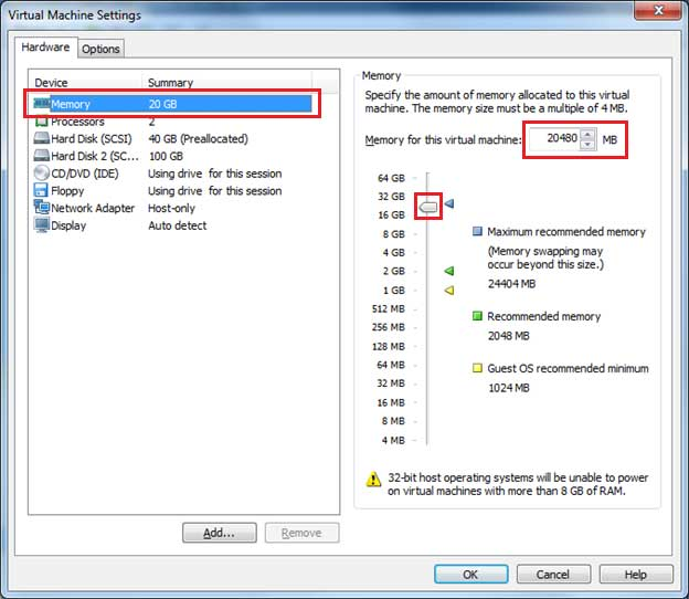 How to change RAM size in VMware player step 2