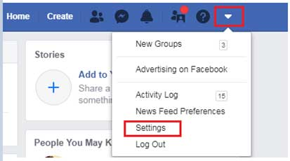 Steps to delete a Facebook account permanently step 1