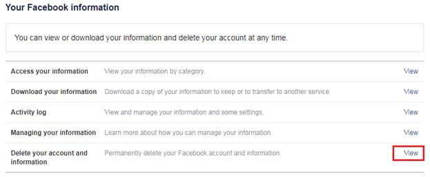 Steps to delete a Facebook account permanently step 3