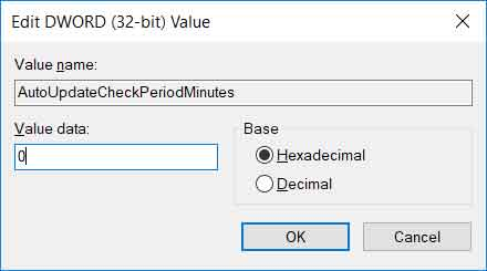 Update AutoUpdateCheckPeriodMinutes value to disable Chrome auto-update