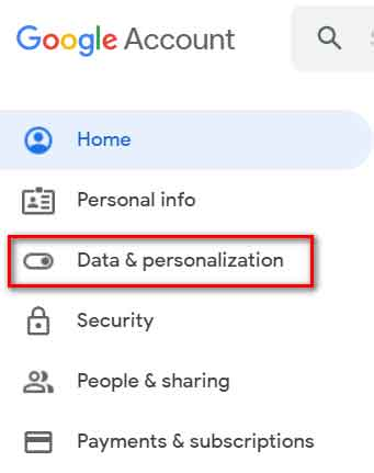 Data & Personalization setting to turn off location tracking