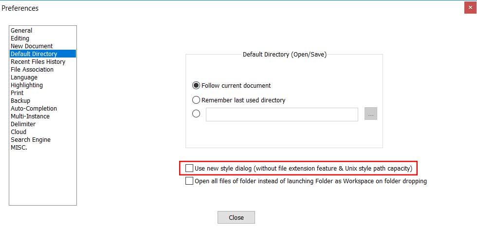 Notepad++ preferences default directory