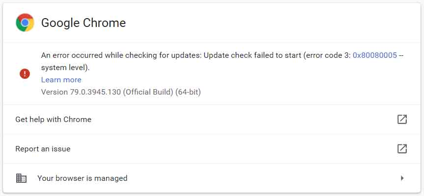 chrome auto update failed