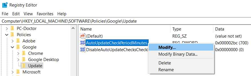 registry editor google chrome policy update