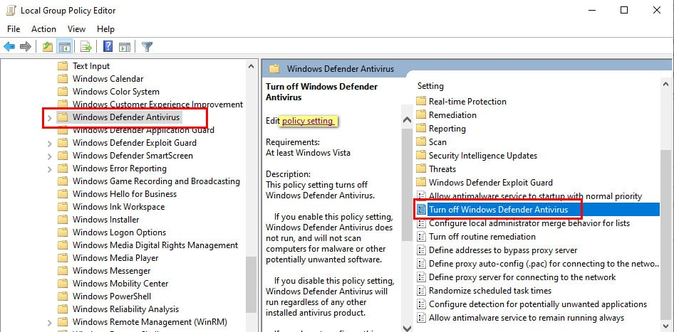 Disable Windows Defender permnently using Group Policy Editor