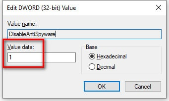 DisableAntiSpyware key to disable Windows Defender