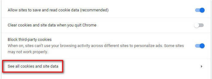 See all cookies and site data in Chrome settings