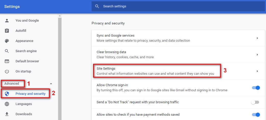 Site Settings in Chrome browser