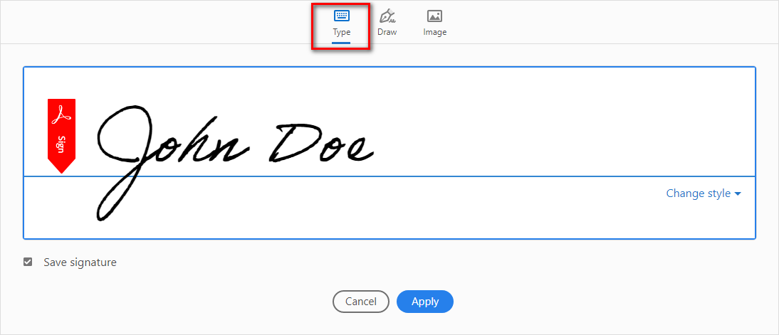 Type Your Name in signature box to sign PDF document