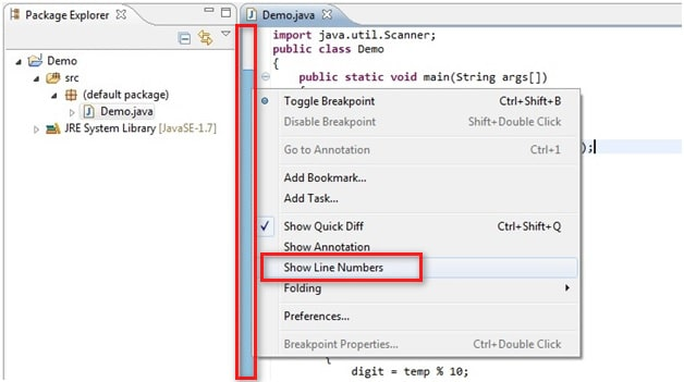 Display Line Numbers in Eclipse