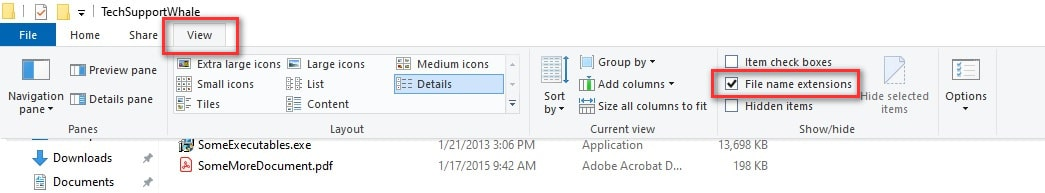 Show File Extension in Windows 10