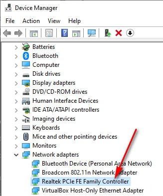 Device manager network adaptor for LAN
