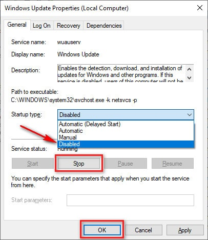 Disable Windows Update Service