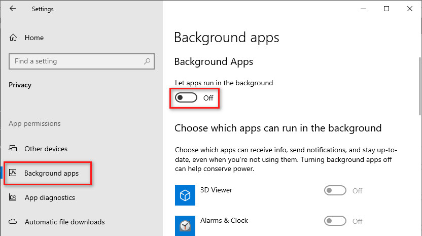 Disable background apps in Windows