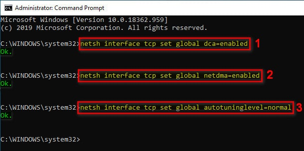Enable Direct Cache Access netdma and autotuninglevel