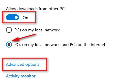 Limit the download and upload settings