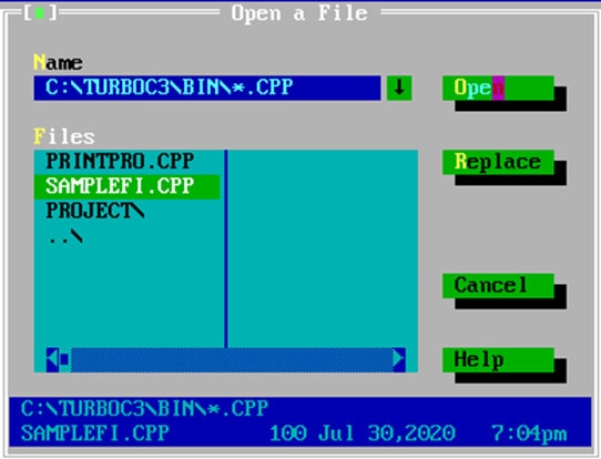 Open a cpp file in Turbo C++