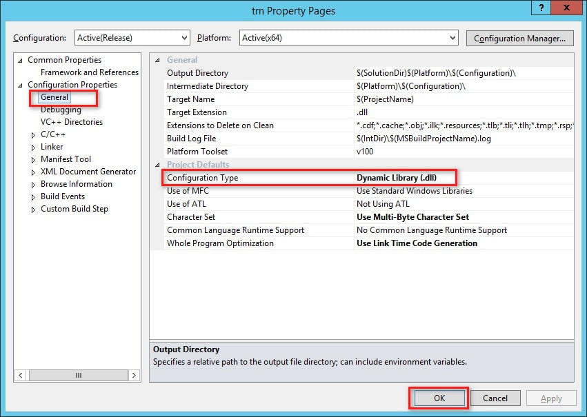 Project Configuration Type in Visual Studio
