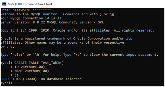 MySQL ERROR 1046 (3D000) No Database Selected