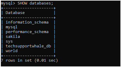 Show database in MySQL