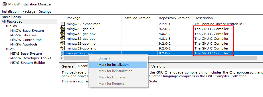Install GNU C Compiler packages in MinGW