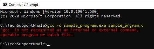 gcc is not recognized as an internal or external command, operable program or batch file