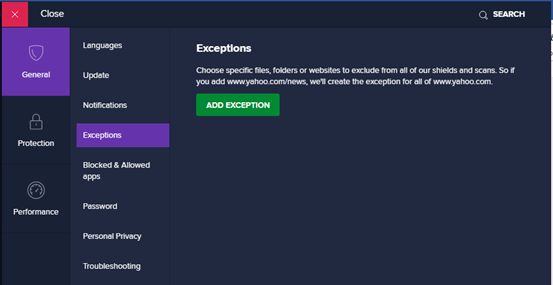 Add folder exception in Avast antivirus
